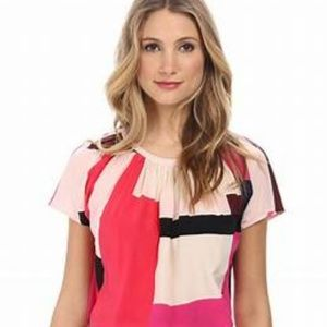 Kate Spade Paley Silk Colorblock Blouse 12